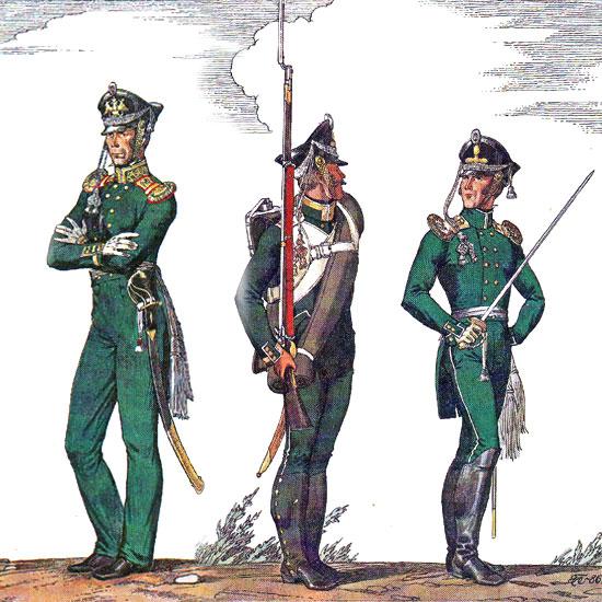 Обер-офіцер Гвардійського флотського екіпажу, унтер-офіцер і обер-офіцер 2-го морського полку