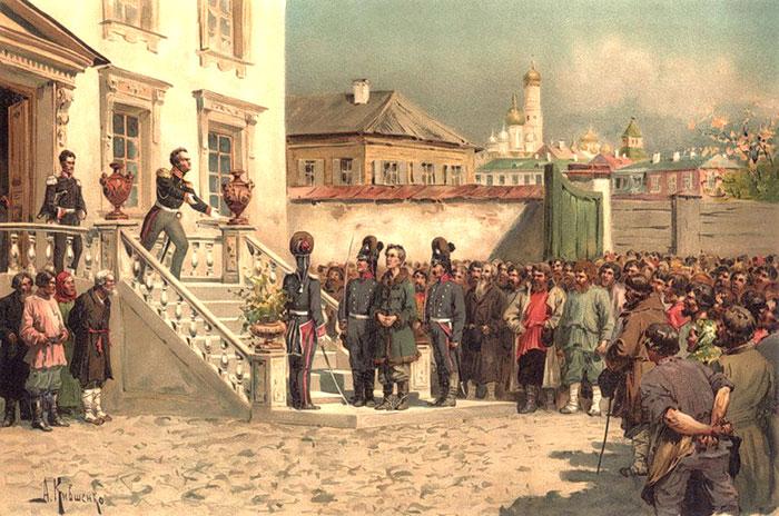 Граф Ростопчин і купецький син Верещагин на дворі губернаторського будинку в Москві