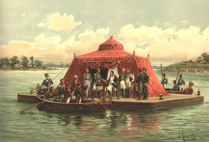 Наполеон і Олександр I на побаченні в Тільзиті. Художник Олексій Кившенко