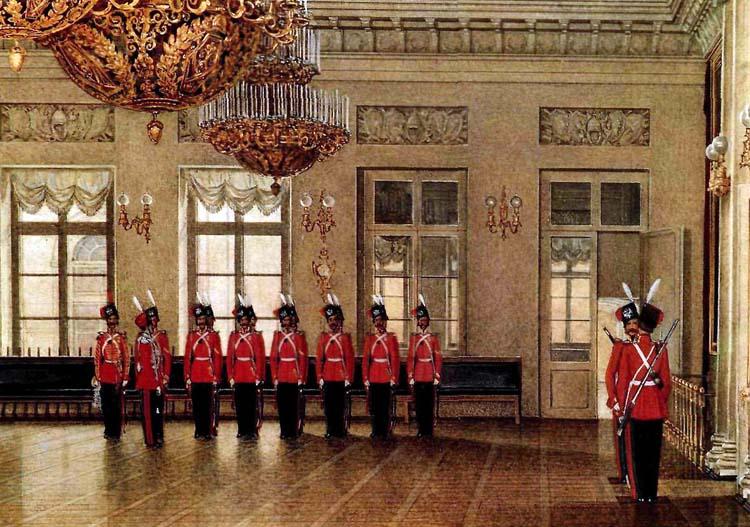 Зміна караулу Лейб-гвардії Козацького Його Величності полку у Зимовому палаці Санкт-Петербурга