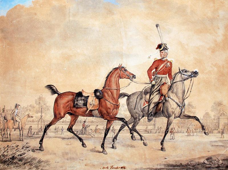 Козак Лейб-гвардійського полку на Королівській площі у Парижі. Малюнок Карла Верне (Antoine-Charles-Horace Vertet, dit Carle -Carlo Vernet)