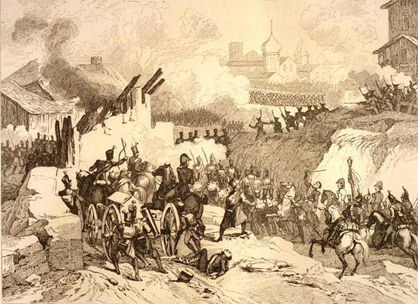 Вступ дивізії Дельзона у Малоярославець. Гравюра Жана Батиста Мартине