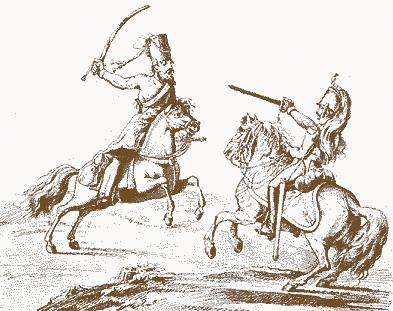 Бій козака з французом. Малюнок 1813 року