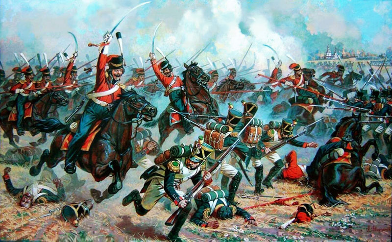 Козаки лейб-гвардії атакують італійську піхоту
