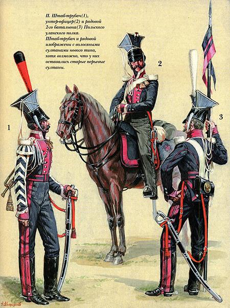 Кінно-Польський (Польський уланський) полк. Штаб-сурмач (1), унтер-офіцер (2) і рядовий 2-го батальйону (3)