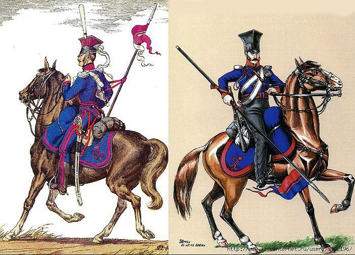 Рядові Польського уланського полку в парадній і похідній формі