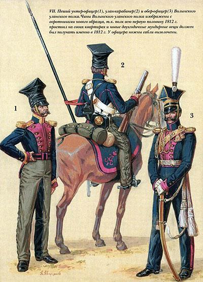 Кінно-Волинський (Волинський уланський) полк. Піший унтер-офіцер (1), улан-карабінер (2) і обер-офіцер (3)