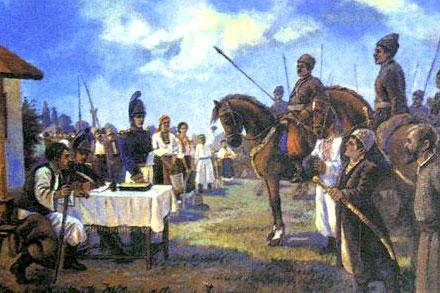 Козаки-добровольці вступають до лав Малоросійського війська
