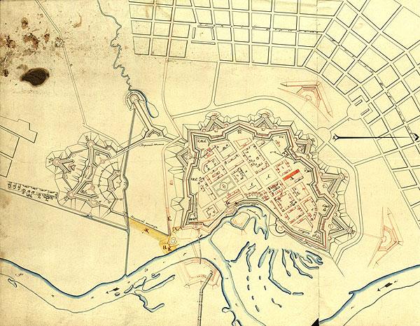 План Бобруйської фортеці. Карта XIX ст.