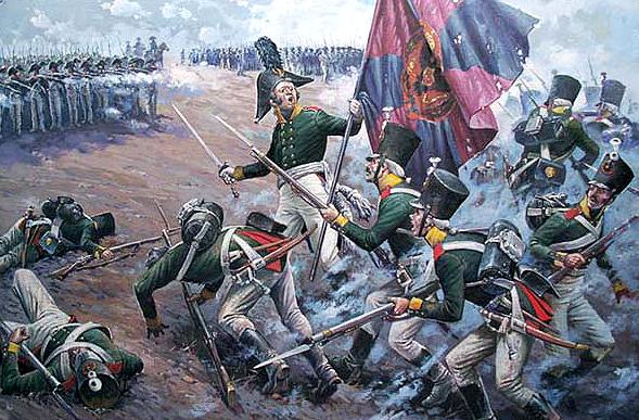 Залп французького каре по атакуючій російській піхоті