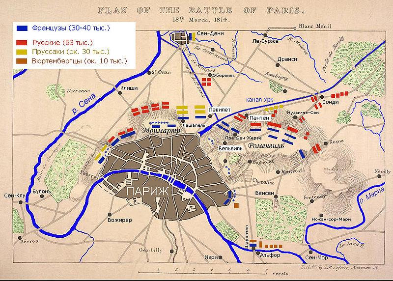 Бій під Парижем. Карта диспозиції військ